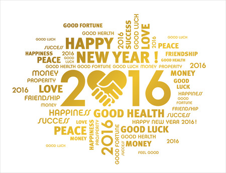 turn of the year: Gold greeting words around like 2016 year isolated on white