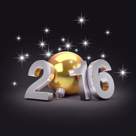 new beginning: 3D New Year 2016 concept with a gold christmas ball and bright stars