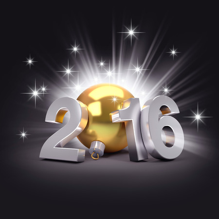 year 3d: 3D New Year 2016 concept with a gold christmas ball and bright stars
