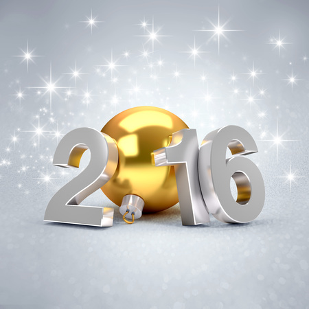 fonts year: 3D New Year 2016 concept with a gold christmas ball on sparking background