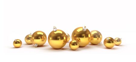 ball isolated: Gold Christmas balls isolated on white background