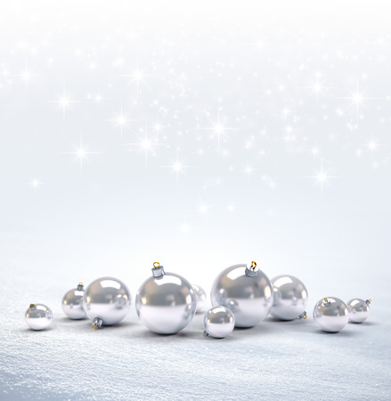 down lights: Silver Christmas balls on a bright snow background with star lights raining down