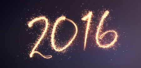 end of the year: 2016 lettering written in fireworks effect