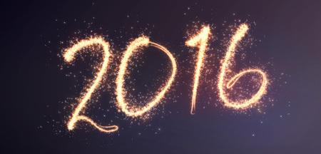 new beginning: 2016 lettering written in fireworks effect