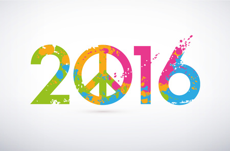 peace concept: New Year 2016 date on colorful paint stains with the peace and love symbol Stock Photo