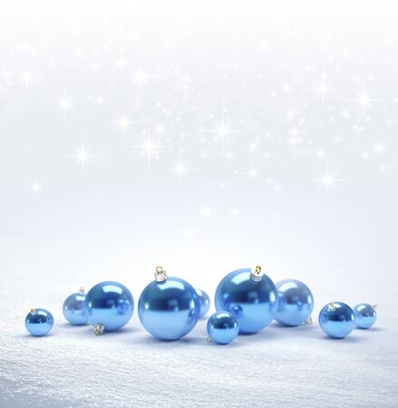 down lights: Blue Christmas balls on a bright snow background with star lights raining down