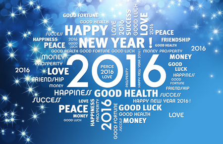 new message: Greeting words around 2016 year type on a shiny blue background