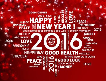 nouvel an: Salutation mots autour de 2016 Type de l'ann�e sur un fond rouge brillant