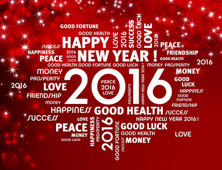 Greeting words around 2016 year type on a shiny red background