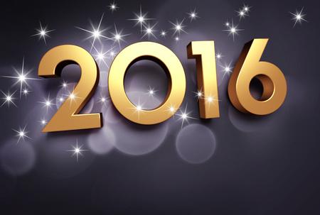 shiny gold: Gold 2016 year type on a shiny black background