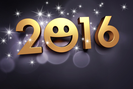 celebration smiley: Gold 2016 year type with a smiley symbol on a black background