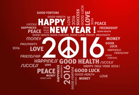 Greeting words around 2016 year type with peace symbol on red