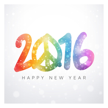 new year greetings: New year 2016 colorful date with peace and love symbol in snowfall Stock Photo