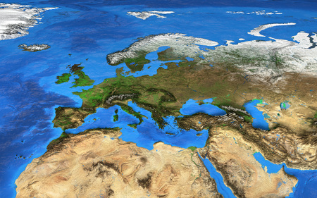 european map: Detailed satellite view of the Earth and its landforms.   Stock Photo