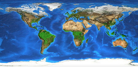world map with countries: Detailed satellite view of the Earth and its landforms.   Stock Photo