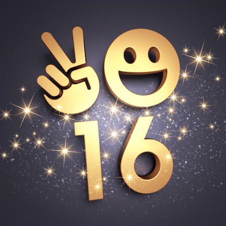 felicitaciones: Feliz tipo de A�o Nuevo en oro con un s�mbolo sonriente y V signo