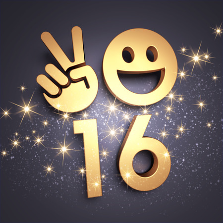 congratulations card: Happy New Year type in gold with a smiley symbol and V sign Stock Photo