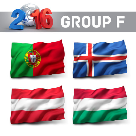 France 2016 qualifying group F with team flags. European soccer competition. Reklamní fotografie - 49938134
