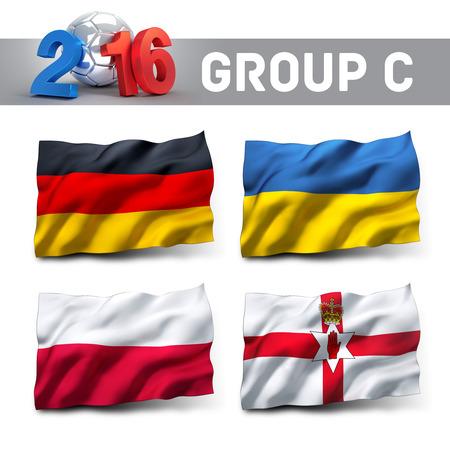 フランス 2016 予選グループ C チーム フラグ。ヨーロッパのサッカーの競争。 写真素材