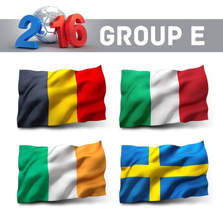finalist: France 2016 qualifying group E with team flags. European soccer competition. Stock Photo
