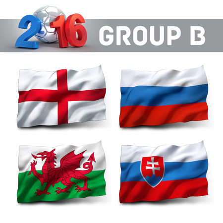 group b: France 2016 qualifying group B with team flags. European soccer competition. Stock Photo