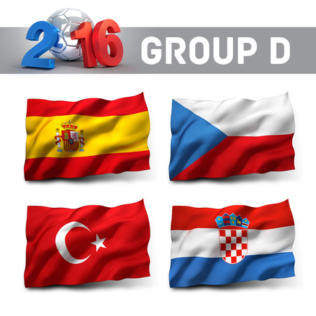 playoffs: France 2016 qualifying group D with team flags. European soccer competition.