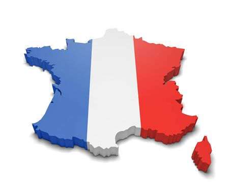 French flag colors in a map shape with raised edges isolated on white Stock Photo