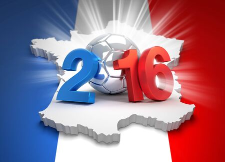finalist: 2016 year type illustrated with a silver soccer ball on french flag Stock Photo