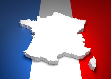 french flag: Blank french map with raised edges on french flag colors