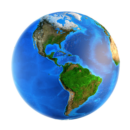 landforms: Detailed picture of the Earth and its landforms, isolated on white. Elements of this image furnished by NASA