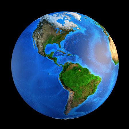 landforms: Detailed picture of the Earth and its landforms, isolated on black. Elements of this image furnished by NASA Stock Photo