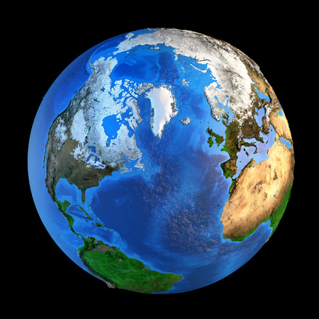 Detailed picture of the Earth and its landforms from a Northern perspective, isolated on black. Elements of this image furnished by NASA