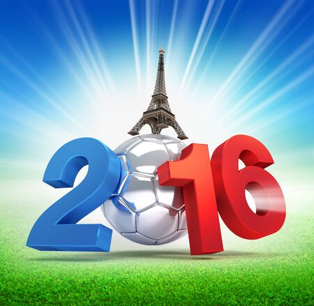 finalist: 2016 year, French flag colored, illustrated with a silver soccer ball and eiffel tower, illuminated on a grass field Stock Photo