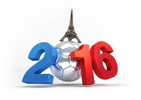 finalist: 2016 year illustrated with a silver soccer ball, French flag colored, isolated on white Stock Photo