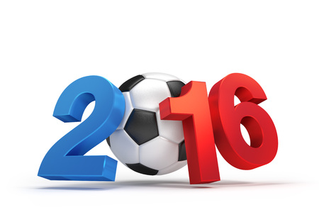 finalist: 2016 year illustrated with a classic soccer ball, French flag colored, isolated on white Stock Photo