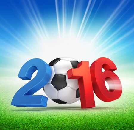 finalist: 2016 year French flag colored, illustrated with a soccer ball and illuminated on a grass field