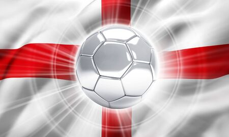 finalist: Silver soccer ball illuminated on a flag of England