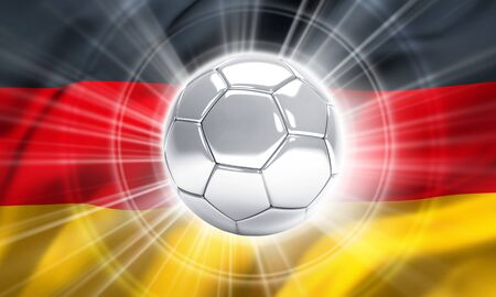 finalist: Silver soccer ball illuminated on a flag of Germany