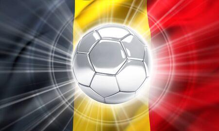 finalist: Silver soccer ball illuminated on a flag of Belgium