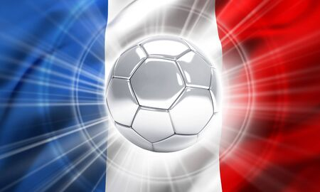 finalist: Silver soccer ball illuminated on a flag of France