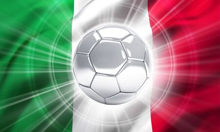 finalist: Silver soccer ball illuminated on a flag of Italy Stock Photo