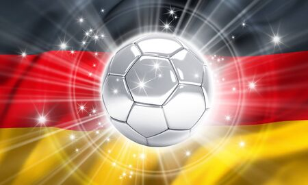 finalist: Silver soccer ball illuminated with stars on a flag of Germany - 3D illustration