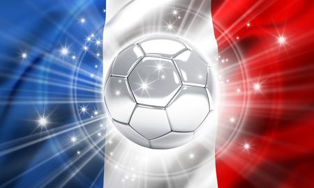 victorious: Silver soccer ball illuminated with stars on a flag of France - 3D illustration