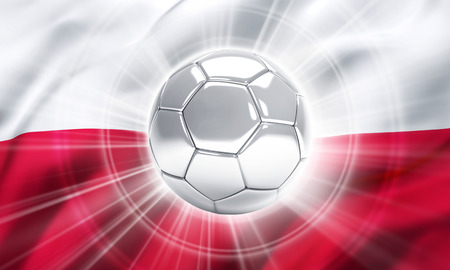 victorious: Silver soccer ball illuminated on a flag of Poland - 3D illustration