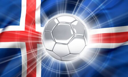 victorious: Silver soccer ball illuminated on a flag of Iceland - 3D illustration