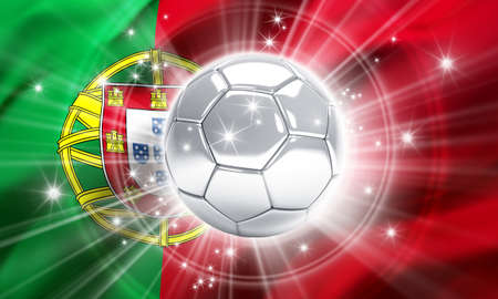 victorious: Silver soccer ball illuminated with stars on a flag of Portugal - 3D illustration