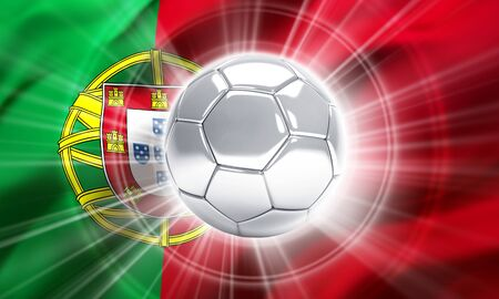 finalist: Silver soccer ball illuminated on a flag of Portugal - 3D illustration