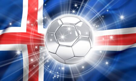 victorious: Silver soccer ball illuminated with stars on a flag of Iceland - 3D illustration