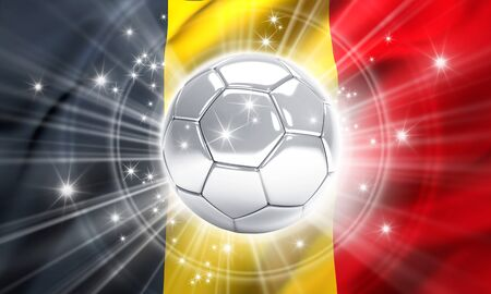 victorious: Silver soccer ball illuminated with stars on a flag of Belgium - 3D illustration