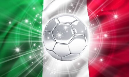 finalist: Silver soccer ball illuminated with stars on a flag of Italy - 3D illustration